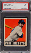 Baseball Cards:Singles (1940-1949), 1948 Leaf Phil Rizzuto #11 PSA NM 7....