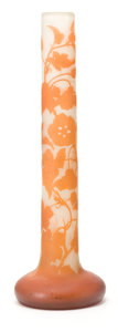 Art Glass:Galle, GALLE MONUMENTAL GLASS PAVOT VASE . White glass vase with orangecameo overlay in a poppy motif, circa 1900 . Marks: Galle...