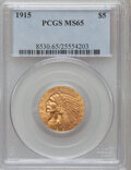 Indian Half Eagles: , 1915 $5 MS65 PCGS. PCGS Population (41/0). NGC Census: (39/0).Mintage: 588,075. Numismedia Wsl. Price for problem free NGC...