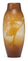 Art Glass:Galle, GALLE GLASS VASE . White glass with amber cameo overlay in apinecone motif, circa 1900 . Marks: Galle (cameo) . 12-3/4...