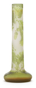 Art Glass:Galle, GALLE GLASS VASE . White glass with green cameo overlay in an oakleaf and acorn motif, circa 1900 . Marks: Galle (cameo...