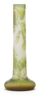 GALLE GLASS VASE White glass with green cameo overlay in an oak leaf and acorn motif, circa 1900 Marks: Ga