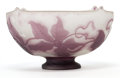 Art Glass:Galle, GALLE GLASS COUPE . White glass coupe with violet cameo overlay ina vine motif, circa 1900 . Marks: Galle (cameo) . 8 i...