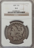 Morgan Dollars: , 1899 $1 Good 4 NGC. NGC Census: (4/7581). PCGS Population(5/10182). Mintage: 330,846. Numismedia Wsl. Price for problemfr...