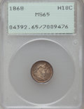 Seated Half Dimes, 1868 H10C MS65 PCGS....
