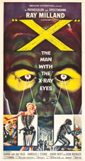 "Movie Posters:Science Fiction, X - The Man with the X-Ray Eyes (American International, 1963).Three Sheet (41"" X 81"").. ..."