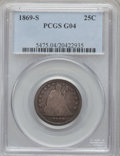 Seated Quarters: , 1869-S 25C Good 4 PCGS. PCGS Population (3/59). NGC Census: (0/21).Mintage: 76,000. Numismedia Wsl. Price for problem free...