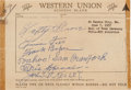 Autographs:Others, 1957 Philadelphia Athletics Hall of Famers Signed Sheet with Foxx, Baker, Speaker....