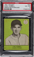 Baseball Cards:Singles (1940-1949), 1941 Goudey Carl Hubbell, Green #20 PSA VG-EX 4....