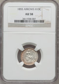 Seated Half Dimes: , 1855 H10C Arrows AU58 NGC. NGC Census: (24/166). PCGS Population(29/120). Mintage: 1,750,000. Numismedia Wsl. Price for pr...