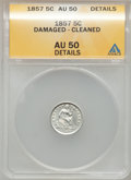 Seated Half Dimes, 1857 H10C -- Damaged, Cleaned -- ANACS. AU50 Details. NGC Census:(8/655). PCGS Population (16/525). Mintage: 7,280,000. Nu...