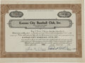 Autographs:Others, 1940 George Weiss & Ed Barrow Signed Stock Certificate....