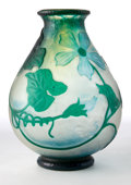 Glass, DAUM GLASS VASE . Clear glass vase with green cameo overlay in a squash and blossom motif, circa 1900. Engraved: Daum, Nan...