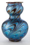 Art Glass:Loetz, LOETZ GLASS DOUBLE GOURD VASE . Blue and copper wave motif gourdvase, circa 1900. 8-3/4 inches high (22.2 cm). ...