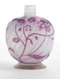 Art Glass:Galle, GALLE GLASS CABINET VASE . White spiral fluted glass vase withlavender and pink overlay in flowering vine motif, circa 1900...