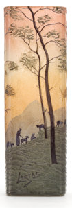 Art Glass:Legras, LEGRAS GLASS LANDSCAPE VASE . Pink glass vase etched and enameledlandscape scene with mountains and sheep, circa 1910 . Mar...