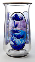 Art Glass:Other , MARCEL GOUPY GLASS VASE . Clear glass vase with three blue enameledArt Deco landscapes, circa 1920 . Marks: M Goupy . 9 inc...