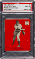 "Baseball Cards:Singles (1940-1949), 1941 Goudey Hugh Mulcahy, Red #1 PSA EX-MT 6 - Finest ""Red"" On Record...."