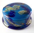 Art Glass:Daum, DAUM GLASS BOX AND COVER . Round blue glass box with cobalt, orangeand gilt foil inclusions, circa 1920. Engraved: Daum, ...