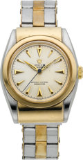 Timepieces:Wristwatch, Rolex Ref. 3065 Steel & Gold Bubbleback With Hooded Lugs, circa 1940. ...