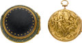 Timepieces:Pocket (pre 1900) , Rayment London Gold & Shagreen Triple Cased Early Verge, circa1740. ...