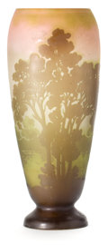 Glass, GALLE GLASS LANDSCAPE VASE . Pink glass with green cameo overlay in a landscape motif, circa 1900 . Marks: Galle (cameo)...