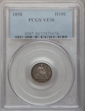 Seated Half Dimes: , 1858 H10C VF30 PCGS. PCGS Population (4/543). NGC Census: (1/618).Mintage: 3,500,000. Numismedia Wsl. Price for problem fr...