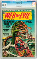 Golden Age (1938-1955):Adventure, Web of Evil #20 Mile High pedigree (Quality, 1954) CGC VF 8.0 Off-white to white pages....