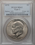 Eisenhower Dollars, 1972 $1 Type Two MS62 PCGS. PCGS Population (254/946). Numismedia Wsl. Price for problem free NGC/PCGS ...