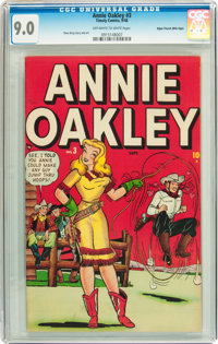 Annie Oakley #3 Mile High pedigree (Timely/Atlas, 1948) CGC VF/NM 9.0 Off-white to white pages