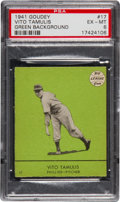 Baseball Cards:Singles (1940-1949), 1941 Goudey Vito Tamulis, Green #17 PSA EX-MT 6 -Finest Green onRecord. ...