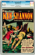 Golden Age (1938-1955):Adventure, Ken Shannon #1 Mile High pedigree (Quality, 1951) CGC FN+ 6.5 Off-white to white pages....