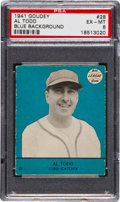 Baseball Cards:Singles (1940-1949), 1941 Goudey Al Todd, Blue #28 PSA EX-MT 6 - Highest Grade Availableof Any Color! ...