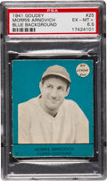 Baseball Cards:Singles (1940-1949), 1941 Goudey Morris Arnovich, Blue SP #25 PSA EX-MT+ 6.5 - Highest of Any Color! ...