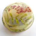 Art Glass:Schneider, DAUM GLASS BOX AND COVER . The round glass box with etched andenameled berry and leaf decoration, circa 1900 . Marks:Dau...