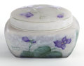 Art Glass:Daum, DAUM GLASS BOX AND COVER . Opalescent glass square box and roundcover, etched and enameled violet decoration, circa 1900. M...