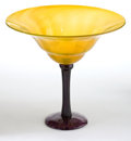 Art Glass:Schneider, CHARLES SCHNEIDER MONUMENTAL GLASS COUPE . Yellow coupe with applied violet stem and base, circa 1925. Engraved: Schneid...