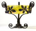 Art Glass:Schneider, CHARLES SCHNEIDER GLASS BOWL WITH WROUGHT IRON BASE . The yellowglass bowl with wrought iron tripod base decorated with lea...(Total: 2 Items)