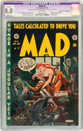 Golden Age (1938-1955):Humor, Mad #5 Mile High pedigree (EC, 1953) CGC Apparent VF 8.0 Slight (P) White pages....
