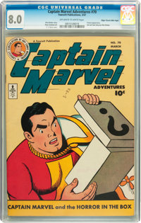 Captain Marvel Adventures #70 Mile High pedigree (Fawcett, 1947) CGC VF 8.0 Off-white to white pages