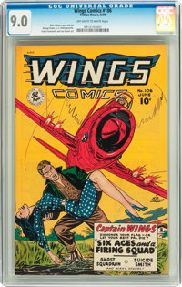 Wings Comics #106 (Fiction House, 1949) CGC VF/NM 9.0 Off-white to white pages
