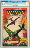 Golden Age (1938-1955):War, Wings Comics #111 (Fiction House, 1950) CGC NM 9.4 Off-white to white pages....