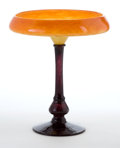 Art Glass:Schneider, CHARLES SCHNEIDER GLASS COUPE . The coupe with applied violet stemand base, orange tone bowl, circa 1925. Engraved: Schne...