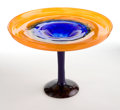 Art Glass:Schneider, CHARLES SCHNEIDER GLASS COUPE . Orange to blue glass coupe withapplied blue stem and violet base, circa 1924. Engraved: Sch...