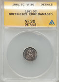 Seated Half Dimes, 1861 H10C -- Edge Damaged -- ANACS. VF30 Details. Ex: Breen-3102.NGC Census: (3/499). PCGS Population (6/438). Mintage...