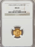 Commemorative Gold: , 1904 G$1 Lewis and Clark MS65 NGC. NGC Census: (182/124). PCGSPopulation (279/138). Mintage: 10,025. Numismedia Wsl. Price...