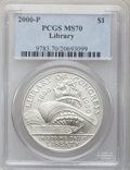 Modern Issues: , 2000-P $1 Library of Congress Silver Dollar MS70 PCGS. PCGSPopulation (296). NGC Census: (674). Numismedia Wsl. Price for...