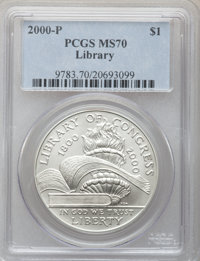 2000-P $1 Library of Congress Silver Dollar MS70 PCGS. PCGS Population (228). NGC Census: (645). Numismedia Wsl. Price f...