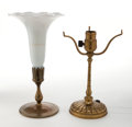 Art Glass:Tiffany , TIFFANY STUDIOS DESK LAMP AND TRUMPET VASE BASE . Gilt table lampbase with three arms and trumpet vase base with modern gla...(Total: 2 Items)