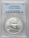 Modern Issues: , 1998-S $1 Black Patriots Silver Dollar MS70 PCGS. PCGS Population(140). NGC Census: (239). Numismedia Wsl. Price for prob...